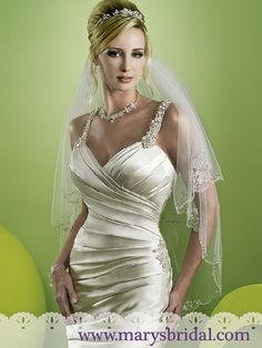 Mary's Bridal ~ Moda Bella ~ Satin Mermaid gown with Chapel Train, V-Neckline, Jeweled Straps, Crystals/Pearls/Beads/Sequins, Covered Button Back. Bridal Gown Styles, Wedding Dress Styles, Bridal Style, Bridal Gowns, Beautiful Wedding Gowns, Beautiful Outfits, Dream Wedding, Mermaid Dresses, Flower Girl Dresses