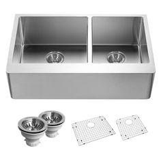 Houzer END-3360 Epicure Series Apron Front 60/40 Double Bowl Kitchen Sink - END-3360SR