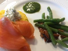 Corn cakes with smoked salmon, herbed cream cheese, herbs gremolata+green beans almondine. Green Beans Almondine, Corn Cakes, Smoked Salmon, Birmingham, Asparagus, Herbs, Cheese, Cream, Vegetables