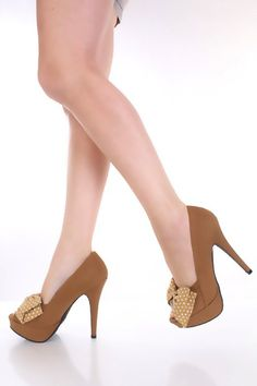 Camel Canvas Faux Leather Dotted Bow Peeptoe Platform Pump Heels