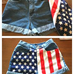 DIY American Flag Shorts. Supplies: high-waisted denim shorts (goodwill, $3), flag bandana (party city, $2), needle, white & navy thread, pins, fray check (or clear finger nail polish), scissors, and PATIENCE!