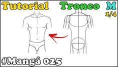 Como Desenhar Tronco Masculino de Frente Mangá 025 - How to Draw Manga