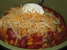Taco Soup I didn't add the onions because I'm not a fan. Also I only added a couple of cups of tomato juice because I thought it was soupy enough already. This was a good dish. I think it would have more flavor if cooked in the crockpot Fall Recipes, Great Recipes, Favorite Recipes, Yummy Recipes, Crockpot Recipes, Soup Recipes, Cooking Recipes, Soup Crocks, Taco Soup