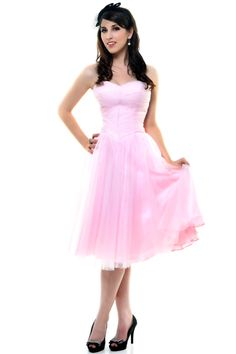 Unique Vintage Baby Pink Sweet as Pie Strapless Chiffon Swing Dress - $68.00