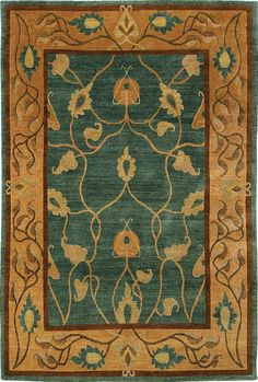 Modern hand-knotted reproduction Craftsman rug: Vineyard  Green 107N - L499