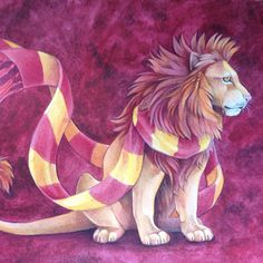 """314 Likes, 5 Comments - Grace (@sushiartstudio) on Instagram: """"Finished with coloured pencils over watercolour #gryffindor #harrypotter #hogwarts #lion"""""""