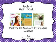 This 5th grade interactive journal is aligned to Common Core and to the McGraw Hill Wonders series for Unit 1-Week 1. This highly INTERACTIVE journal is ideal for teaching all of this week's skills in a powerful, student-friendly way!