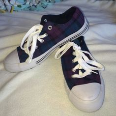 Plaid Converse like shoes! Purple and blue plaid shoes! I wore these once and never again, so in great condition!! Shoes