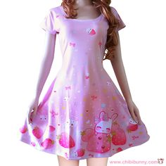 This design features a cute bunny with kawaii strawberries, milk cartons, lollipops, bows, colorful stars and hearts on light pink background.   PRODUCT INFORMATION  - Made from 86% Polyester, 14% Spandex - Soft, stretchy and quick drying fabric - Fitted top and slight flare at the bottom ...
