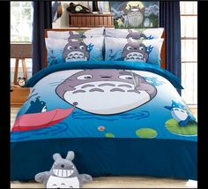 Totoro bed sheets Purple king size comforter sets Coral fleece  Winter Worm bedding set quilt cover/Girls/bedroom sets/