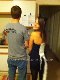 Easy Homemade Skunk and Animal Control Couple Costume (halloween college zombie)