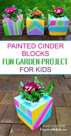 Add some wow factor to your patio or balcony with these fun & colorful painted cinder blocks. These DIY planters make such a fun garden project for kids and a great family outdoor activity for spring or summer. Diy Garden Projects, Garden Crafts, Projects For Kids, Garden Art, Crafts For Kids, Garden Kids, Diy Crafts, Cinder Block Garden, Cinder Blocks