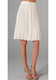 ladylike skirts, cream pleated skirt
