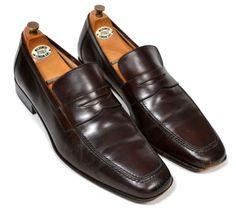SALVATORE FERRAGAMO Dark Brown Stitched Toe Mens Dress Shoes Loafer - US 11 D #SalvatoreFerragamo #LoafersSlipOns