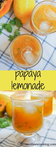 This papaya lemonade is incredibly easy to make and healthier than most versions (only a touch of honey, no sugar). So refreshing, it's perfect for a warm day, plus you can add your favorite spirit to make it a cocktail! Papaya Juice Recipe, Papaya Drink, Papaya Smoothie, Juice Smoothie, Smoothie Drinks, Healthy Smoothies, Healthy Drinks, Smoothie Recipes, Healthy Recipes
