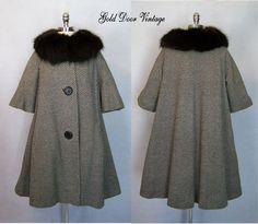 Elegant Vintage 50s 60s LILLI ANN Tweed FOX FUR Trim Trapeze Swing Coat L/XL #LilliAnn