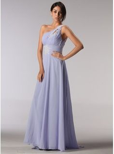 Empire One-Shoulder Sweep Train Chiffon Bridesmaid Dresses With Embroidered  Ruffle (007005196)