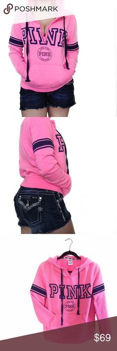 • PINK • Half Zip Hoodie Victoria's Secret PINK half zip hoodie. Washed once. Offers through button  No trades  PINK Victoria's Secret Tops Sweatshirts & Hoodies