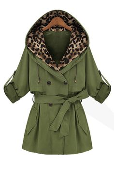 Double-breasted hooded coat leopard loose belt