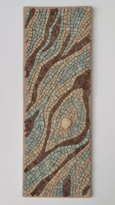 """Lifecycle"" mosaic by Julie Sperling -- 22"" x 8"", stone and fossil"