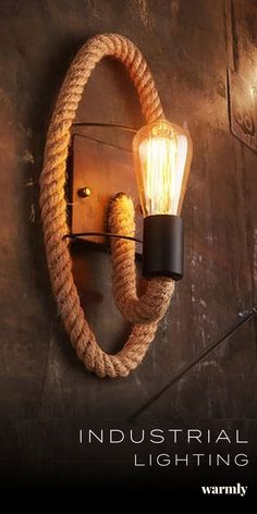 Industrial Rope Wall Lamps - Off Today diy home decor lighting Clove - Round Rope Wrap Wall Lamp Industrial Light Fixtures, Industrial Lighting, Dim Lighting, Types Of Lighting, Lamp Inspiration, Urban Decor, Industrial Interiors, Creative Walls, Cool Ideas