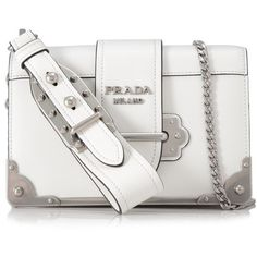 Prada Spazzolato Soft Calf Cahier Crossbody (7.460 BRL) ❤ liked on Polyvore featuring bags, handbags, shoulder bags, white, chain strap purse, white shoulder bag, shoulder strap handbags, white cross body purse and shoulder strap bags