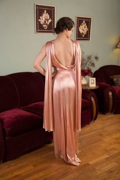 Vintage 1930s Dress Glorious Rose Pink Rayon Satin 30s by FabGabs