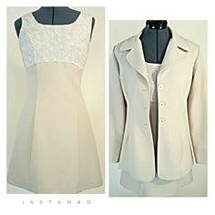 """Dress with Jacket, Suit Sharp cream colored A-Line dress, empire waist, with matching 3 Button jacket. Jacket is 26""""long from shoulder. Sleeve is 23 1/2"""". 17 1/2"""" from underarm to underarm. Waist on dress is 28"""". Waist on jacket is 30"""". Dress is 32 1/2"""" long with 20"""" back zipper and measures 17"""" from underarm to underarm. 100% polyester for easy care. Size 7/8 Wrapper  Dresses"""