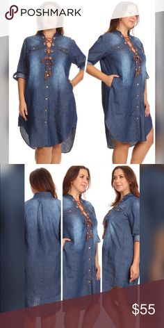 """JUST IN!! The Sophisticated Denim Dress Denim dress with a front corset tie and button tabs. 95% Cotton, 5% Polyester. Model is 5'10"""" and wearing the XL. Dresses"""
