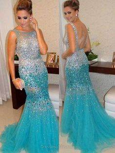 Open Back Prom Dresses, Mermaid Prom Dress, Blue Evening Gowns, Tulle Party Dresses, Beaded Formal Dresses