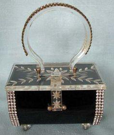 1950's Kahn Black Lucite/Rhinestone Box Purse