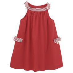 Robe en popeline rouge fraise