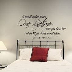 Romantic Love Wall Sticker Lord of the Rings One Lifetime Quote Vinyl Art Decor in Home, Furniture & DIY, Home Decor, Wall Decals & Stickers | eBay