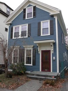Navy Blue Home Exterior Paint Color. Benjamin Moore Newburyport ...