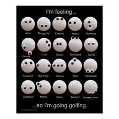 66720fa883 Carta de las emociones de las pelotas de golf poster Humor Sobre Golf