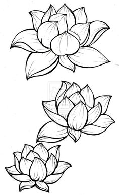 Lotus Blossom Tattoos, Flower Tattoos, Purple Lotus Tattoo, Lotus Flower Tattoo Wrist, Flower Outline Tattoo, Lotus Tattoo Back, Tattoo Outline Drawing, Outline Drawings, Body Art Tattoos