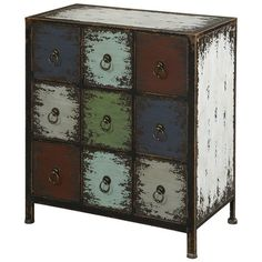 Weathered nine-drawer apothecary cabinet.    Product: Apothecary cabinet      Construction Material: Wood Co...