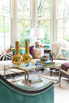 Gary Riggs, gold accents, turquoise decor