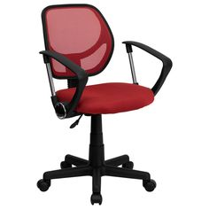 """The """"Aurora"""" Low Back Mesh Office Chair (in Red) comes at a very affordable price. It is not only comfortable but also adjustable. The pneumatic seat height adjustment can serve to each individual's need, which assures your feet are flat on the floor, providing better circulation to your legs. Thanks to a brightly colored breathable mesh back and 2-inch thick padded seat cushion (upholstered in matching mesh fabric), you can enjoy a bright and airy seated experience. The sturdy black…"""