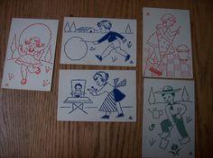 Borduurkaarten uit de jaren 60. Mijn kinderen kregen ze van hun oma maar er waren nog een paar niet geborduurd. Nu zijn ze naar een liefhebber.