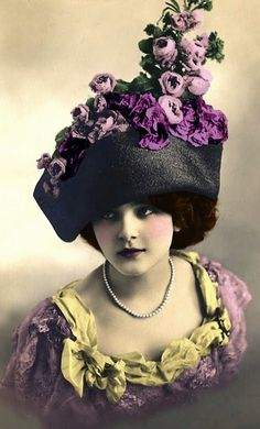 Hat with purple flowers, early 20th century