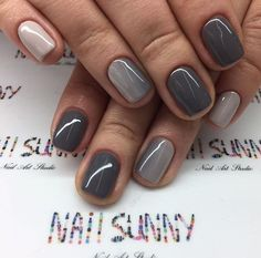 Gel nails,french nails,manicure and pedicure,mani-pedi,nail salons Short Gel Nails, Short Nails Art, Gradient Nails, Fun Nails, Grey Gel Nails, Dark Grey Nails, Grey Nail Art, Gray Nail Polish, Nexgen Nails Colors