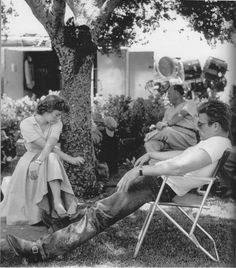 Natalie Wood and James Dean on the set of REBEL WITHOUT A CAUSE.