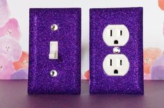Amazon.com - PURPLE Glitter Switch Plate Outlet Covers SET OF 2. ALL Styles Available! -