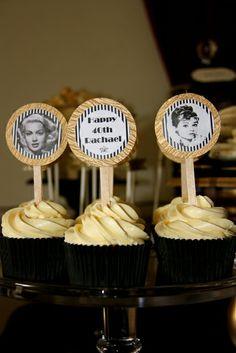 Like the cupcake idea sans the Marilyn/Audrey photos.