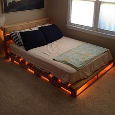DIY lighted pallet bed                                                                                                                                                                                 More