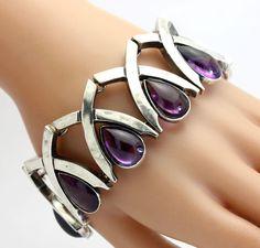 Vintage Antonio Pineda Amethyst Gemstone 970 Sterling Silver Bracelet