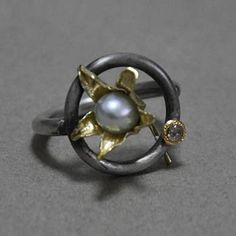 Artist: Hiroshi Watanabe: , Ring in oxidized sterling silver with 18k gold petals, pearl and brown rosecut diamond (0.06CT). Size 2 1/2 (May...