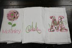 set of three burp cloths-pink and green floral set-monogrammed and appliqued-personalized and unique-great baby shower or hospital gift on Etsy, $24.50