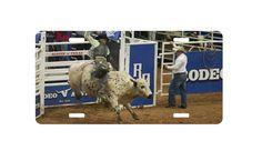 Cowboy bull riding license plate car tag vanity by TagsbyTheresa